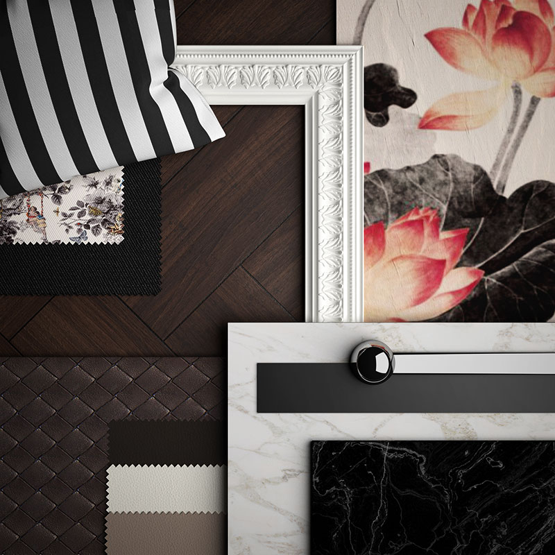 classic-modern material moodboard